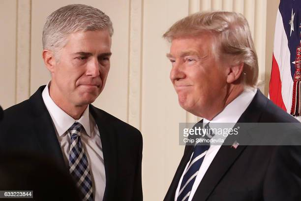 S President Donald Trump announces the nomination of Judge Neil Gorsuch to the Supreme Court during a ceremony in the East Room of the White House...