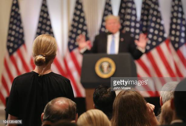President Donald Trump answers a reporter's question at a press conference on September 26 2018 in New York City The President held the news...
