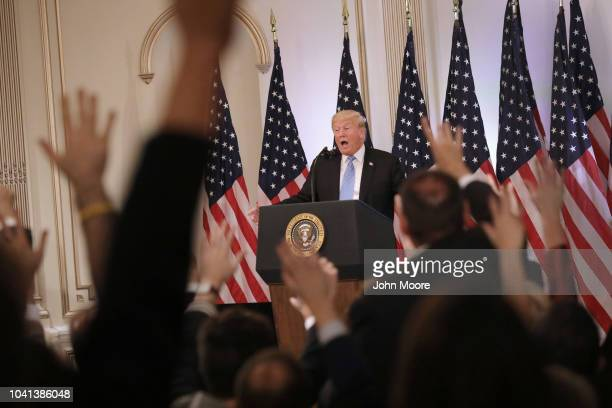 S President Donald Trump answers questions at a press conference on September 26 2018 in New York City The President held the news event after...