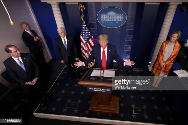 S President Donald Trump answers questions in the press briefing room with members of the White House Coronavirus Task Force April 3 2020 in...
