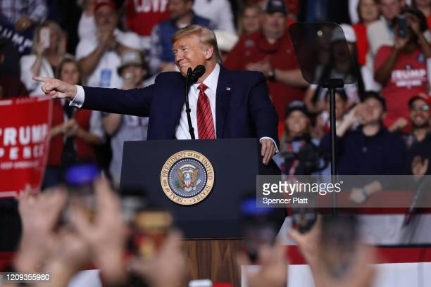 President Donald Trump appears at a rally on the eve of the South Carolina primary on February 28, 2020 in North Charleston, South Carolina. The...