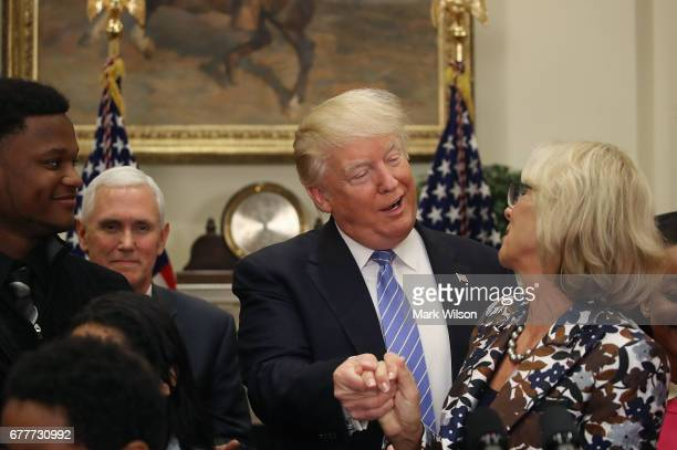 S President Donald Trump appears at an education event with Education Secretary Betsy DeVos in the Roosevelt Room of the White House on May 3 2017 in...