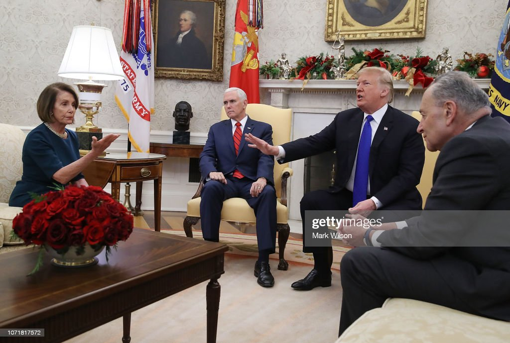 President Trump Meets With Nancy Pelosi And Chuck Schumer At White House : News Photo