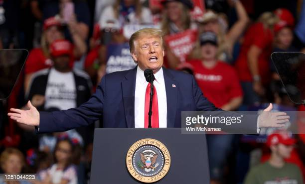 S President Donald Trump arrives at a campaign rally at the BOK Center June 20 2020 in Tulsa Oklahoma Trump is holding his first political rally...