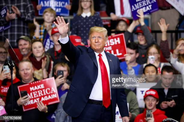 President Donald Trump arrives at a campaign rally for Republican Senate candidate Mike Braun at the County War Memorial Coliseum November 5, 2018 in...