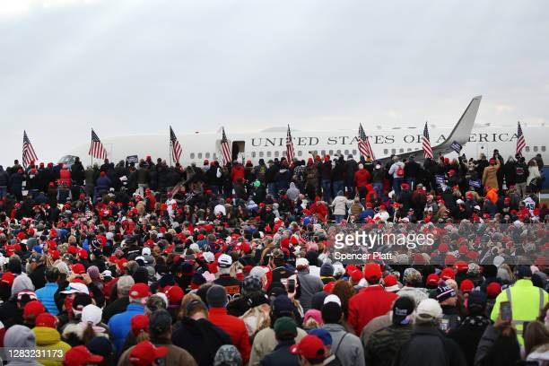 President Donald Trump arrives at a rally on October 31, 2020 in Reading, Pennsylvania. Donald Trump is crossing the crucial state of Pennsylvania in...