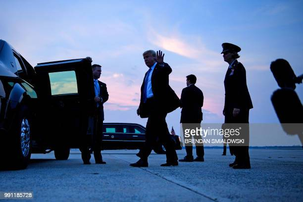 President Donald Trump arrives at Andrews Air Force Base on July 3 2018 in Maryland