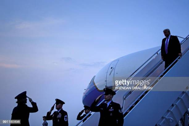 US President Donald Trump arrives at Andrews Air Force Base on July 3 2018 in Maryland