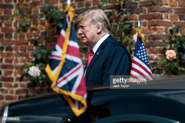 S President Donald Trump arrives at Chequers on July 13 2018 in Aylesbury England US President Donald Trump held bilateral talks with British Prime...