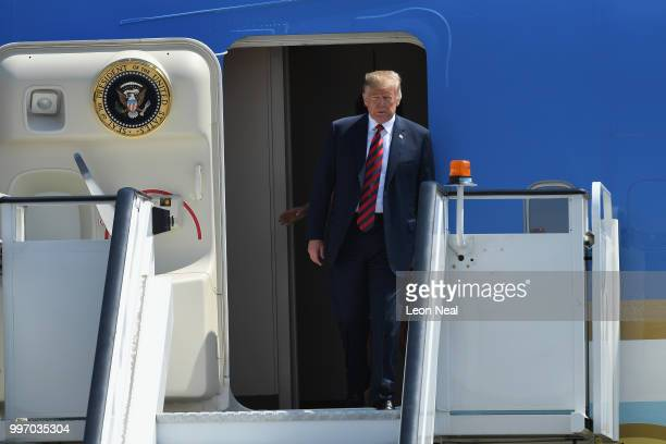 S President Donald Trump arrives at Stansted Airport on July 12 2018 in Essex England The President of the United States and First Lady Melania Trump...