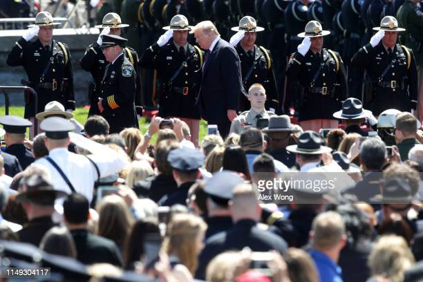 S President Donald Trump arrives at the 38th Annual National Peace Officers' Memorial Service at the west front of the Capitol May 15 2019 in...