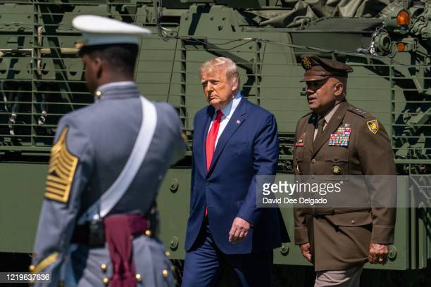President Donald Trump Arrives at the commencement ceremony for army cadets on June 13, 2020 in West Point, New York. The graduating cadets were sent...