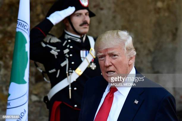 President Donald Trump arrives at the Hotel San Domenico on the second day of the G7 summit of Heads of State and of Government on May 27 2017 in...