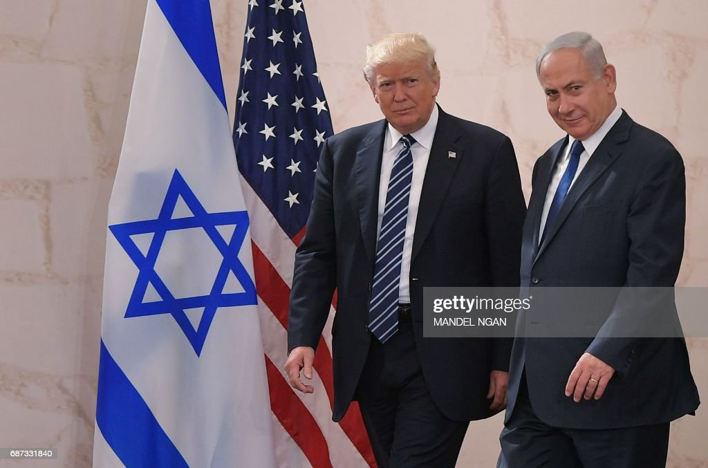 US President Donald Trump (L) arrives at the Israel Museum to speak in Jerusalem on May 23, 2017, accompanied by Israeli Prime Minister Benjamin Netanyahu. /