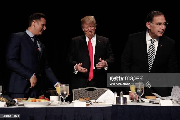 US President Donald Trump arrives at the National Prayer Breakfast February 2 2017 in Washington DC Every US president since Dwight Eisenhower has...