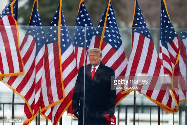 "President Donald Trump arrives at the ""Stop The Steal"" Rally on January 06, 2021 in Washington, DC. Trump supporters gathered in the nation's capital..."