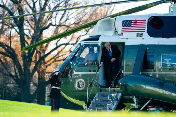 DC: President Trump Returns To The White House From Camp David