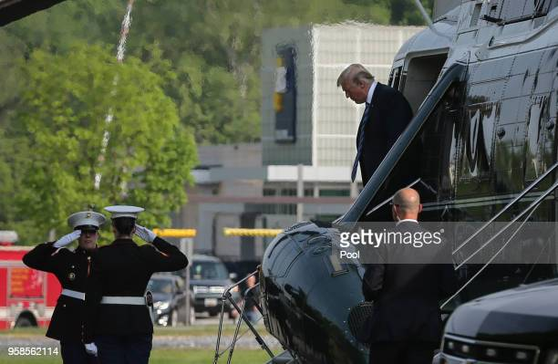 S President Donald Trump arrives at Walter Reed National Military Medical Center in Bethesda MD on May 14 2018 Trump is visiting first lady Melania...