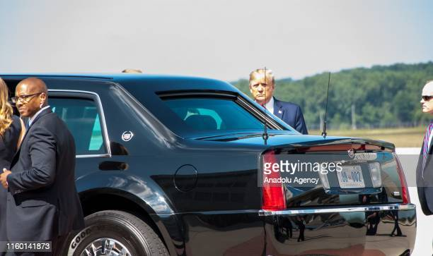 President Donald Trump arrives at WrightPatterson Air Force Base to visit mass shooting sites in Dayton Ohio United States on August 7 2019