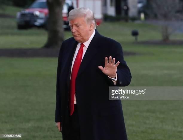 S President Donald Trump arrives back at the White House on December 7 2018 in Washington DC President Trump traveled to Kansas City MO where made...