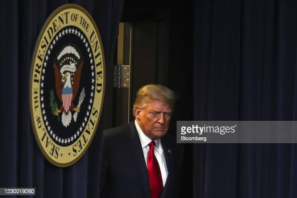 President Donald Trump arrives during an Operation Warp Speed vaccine summit at the White House in Washington, D.C., U.S., on Tuesday, Dec. 8, 2020....