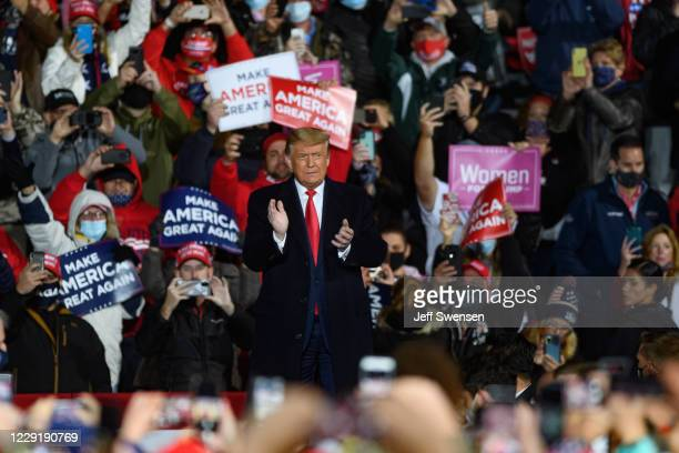 President Donald Trump arrives for a campaign rally at North Coast Air aeronautical services at Erie International Airport on October 20, 2020 in...