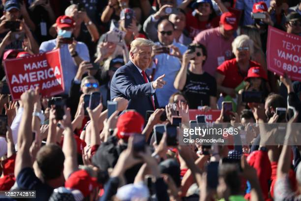 President Donald Trump arrives for a campaign rally at Phoenix Goodyear Airport October 28, 2020 in Goodyear, Arizona. With less than a week until...