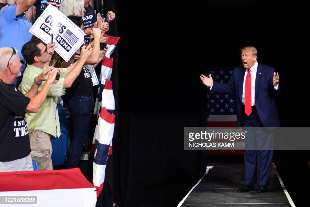 President Donald Trump arrives for a campaign rally at the BOK Center on June 20 2020 in Tulsa Oklahoma Hundreds of supporters lined up early for...