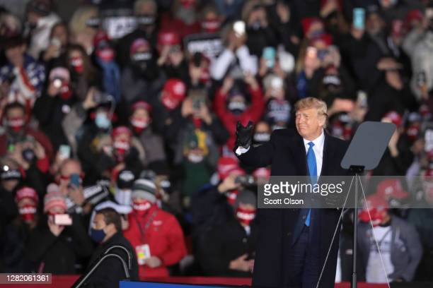 President Donald Trump arrives for a campaign rally at the Waukesha County Airport on October 24, 2020 in Waukesha, Wisconsin. Trump is scheduled to...