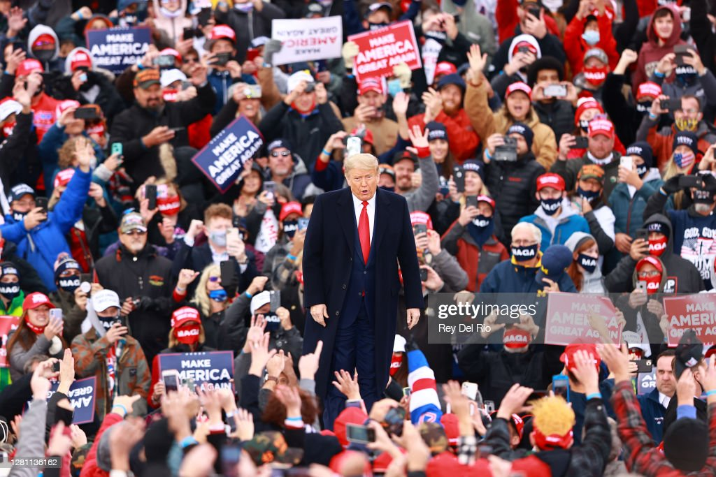 President Trump Holds Campaign Rally In Muskegon, Michigan : News Photo