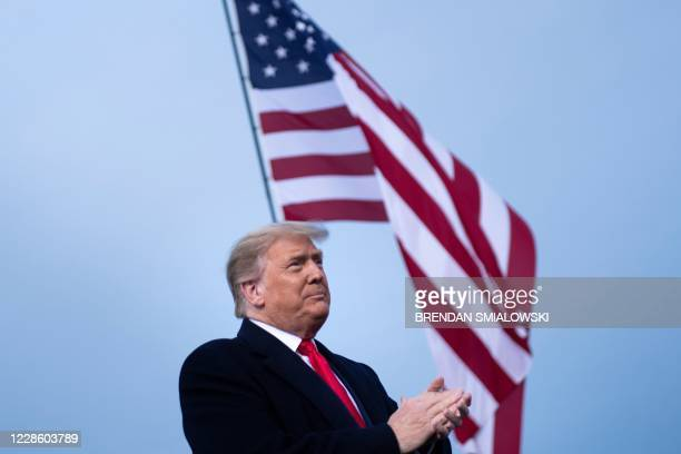 """President Donald Trump arrives for a """"Great American Comeback"""" rally in Fayetteville, North Carolina, on September 19, 2020."""