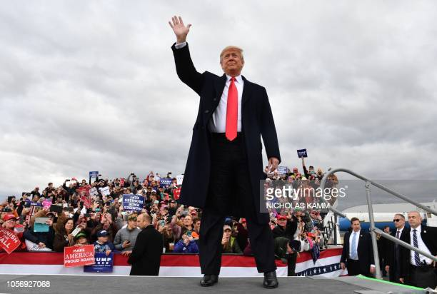 President Donald Trump arrives for a Make America Great Again rally at Bozeman Yellowstone International Airport November 3 2018 in Belgrade Montana...