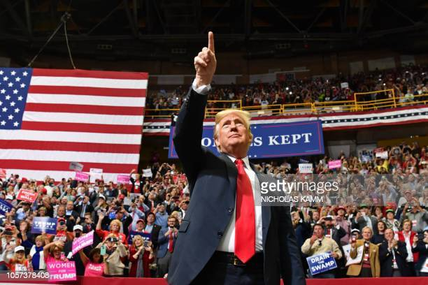 President Donald Trump arrives for a Make America Great Again campaign rally at McKenzie Arena in Chattanooga Tennessee on November 4 2018