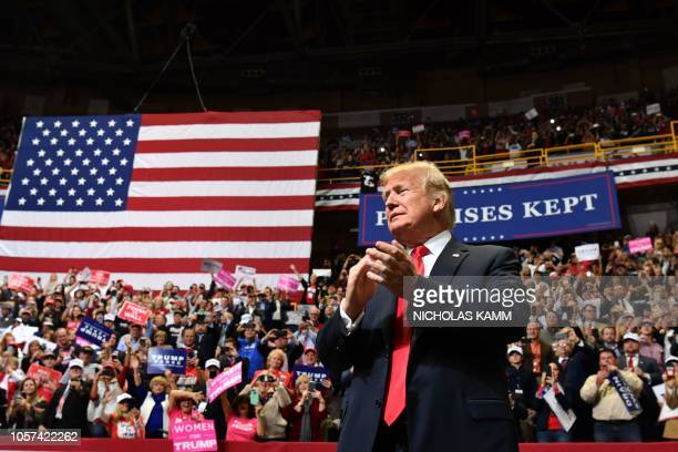 US President Donald Trump arrives for a Make America Great Again campaign rally at McKenzie Arena in Chattanooga Tennessee on November 4 2018