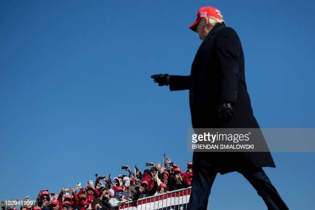 President Donald Trump arrives for a Make America Great Again rally at Fayetteville Regional Airport November 2 in Fayetteville, North Carolina. -...