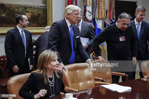 President Donald Trump arrives for a meeting with CEO of General Motors Mary Barra CEO of Fiat Chrysler Automobiles Sergio Marchionne and Fiat...