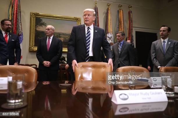 S President Donald Trump arrives for a meeting with Homeland Security Secretary John Kelly National Security Advisor Michael Flynn White House...