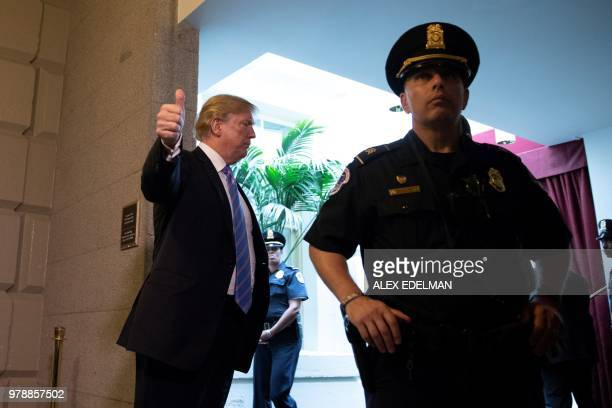 President Donald Trump arrives for a meeting with Republican members of Congress at the US Capitol in Washington DC on June 19 2018