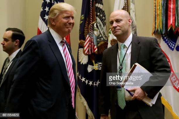 S President Donald Trump arrives for a meeting with White House Director of Legislative Affairs Marc Short and House of Representatives committee...