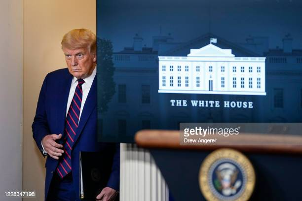 President Donald Trump arrives for a news conference the White House on September 4, 2020 in Washington, DC. President Trump took questions on a...
