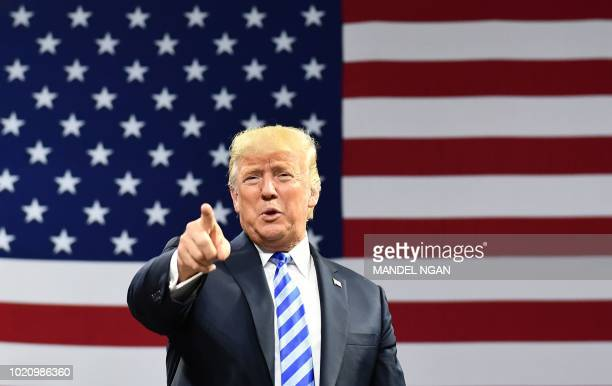 President Donald Trump arrives for a political rally at Charleston Civic Center in Charleston, West Virginia, on August 21, 2018.