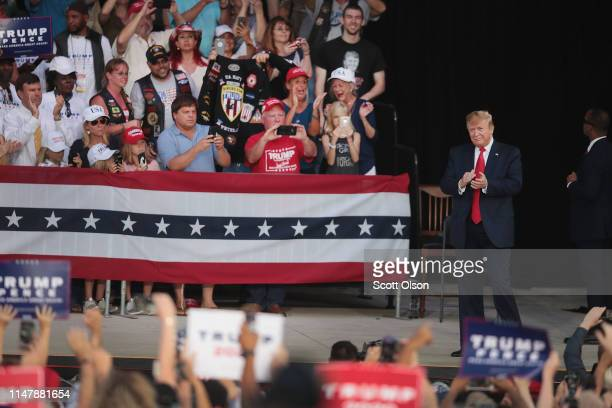 S President Donald Trump arrives for a rally at the Aaron Bessant Amphitheater on May 8 2019 in Panama City Beach Florida In his continuing battle...