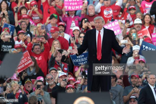 President Donald Trump arrives for a rally at the Southern Illinois Airport on October 27 in Murphysboro Illinois Trump is visiting the state to show...