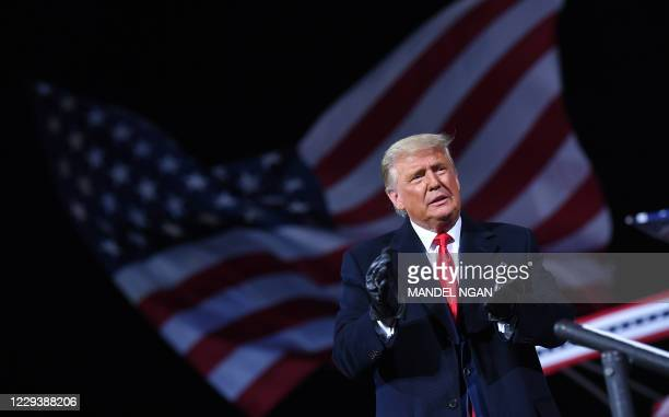 President Donald Trump arrives for a rally at Williamsport Regional Airport in Montoursville, Pennsylvania on October 31, 2020.