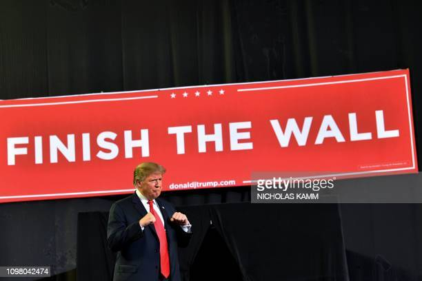 US President Donald Trump arrives for a rally in El Paso Texas on February 11 2019