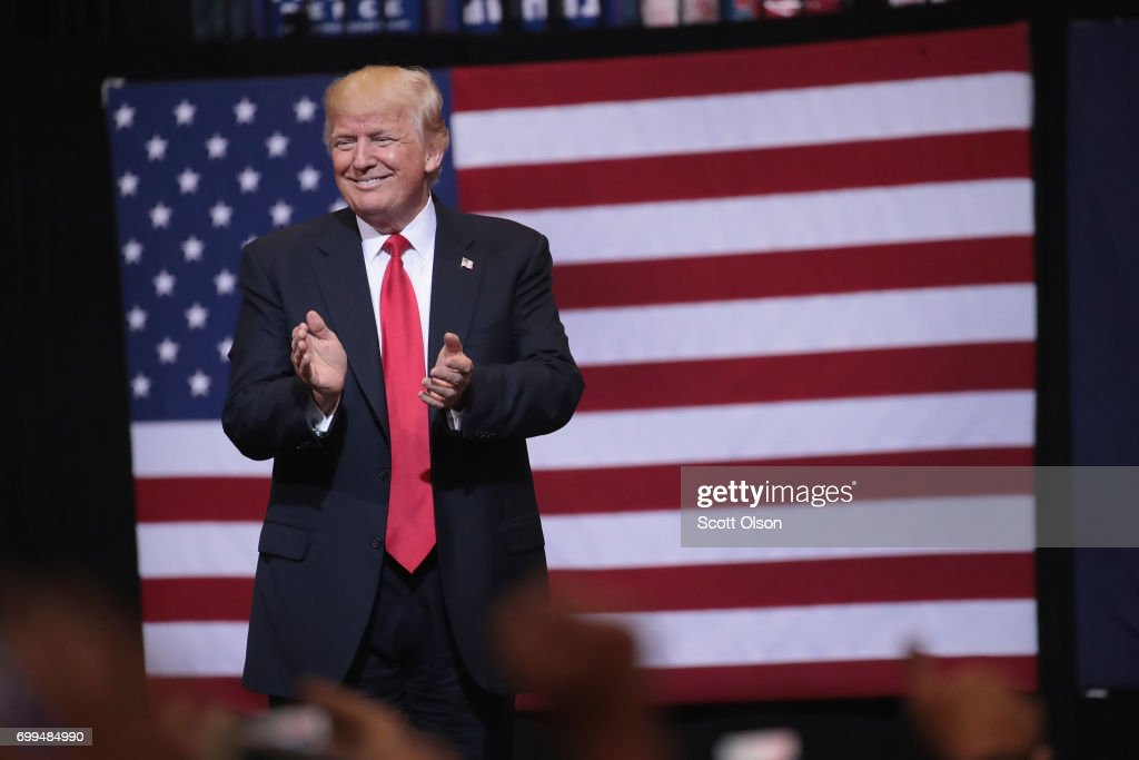 President Donald Trump Holds Rally In Cedar Rapids, IA : News Photo