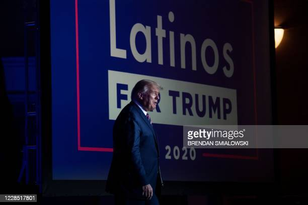 President Donald Trump arrives for a roundtable rally with Latino supporters at the Arizona Grand Resort and Spa in Phoenix, Arizona on September 14,...
