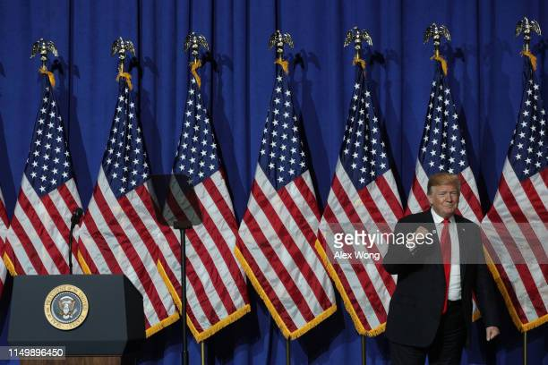 S President Donald Trump arrives for his address to the National Association of Realtors Legislative Meetings Trade Expo May 17 2019 in Washington DC...