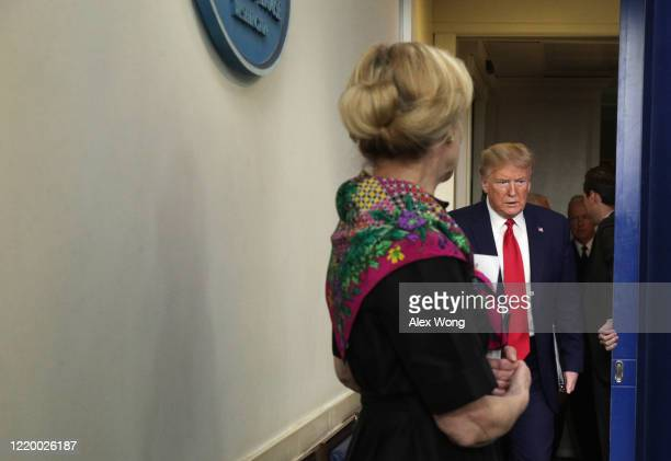 President Donald Trump arrives for the daily coronavirus briefing at the White House April 20, 2020 in Washington, DC. Oil prices fell below zero...