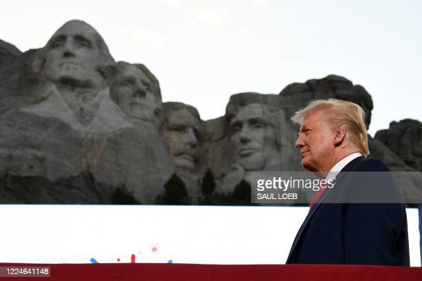 US President Donald Trump arrives for the Independence Day events at Mount Rushmore National Memorial in Keystone South Dakota July 3 2020